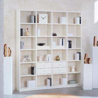 1_Regalwand-in-Weiss-lackiert-mit-4-Schubladen