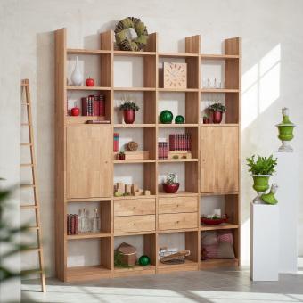Regalwand-in-Eiche-Massivholz-keilgezinkt-mit-4-Schubladen-und-2-Holztueren-ueber-jeweils-2-Faecher
