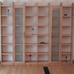 Regalwand Buche mit Glastüren